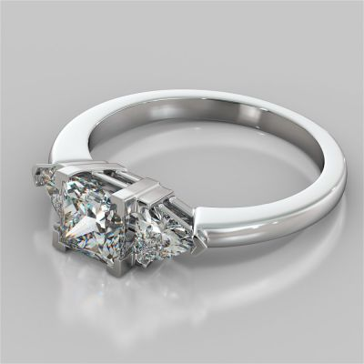 Princess Cut Three-Stone Engagement Ring With Trillion Accents