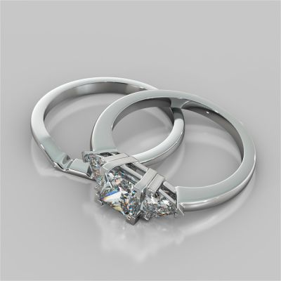 Princess Cut Three-Stone Wedding Set With Trillion Accents