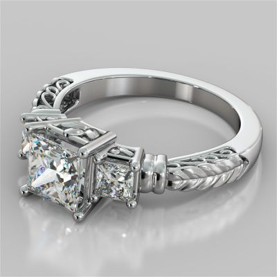 Princess Cut Three-Stone Filigree Engagement Ring