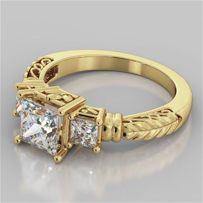 1.75Ct Princess Cut Three-Stone Filigree Engagement Ring in 18K Yellow Gold