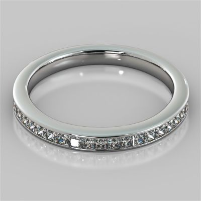 Princess Cut Channel Set Wedding Band