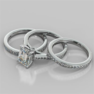 Emerald Cut Accented Cathedral Style Wedding Set With 2 Matching Bands