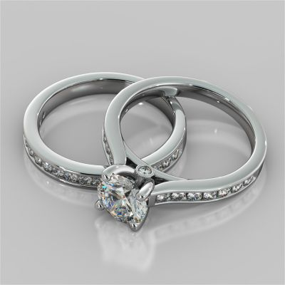 Round Cut Wedding Set With Channel Accents