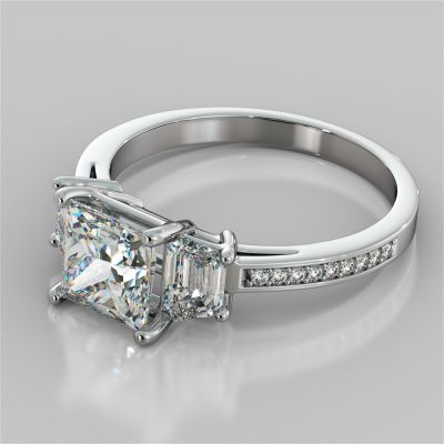 Princess Cut Three Stone Engagement Ring With Trapezoids