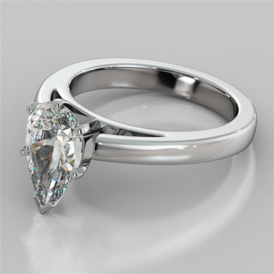 Pear Cut Cathedral Style Engagement Ring