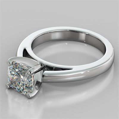 Cushion Cut Cathedral Style Engagement Ring