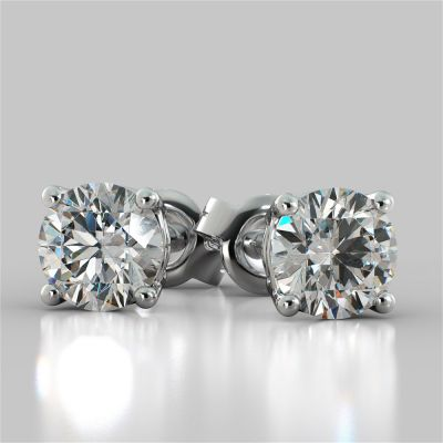 2.0CTW Round Cut Stud Earrings in 14K White Gold (1.0Ct Each)