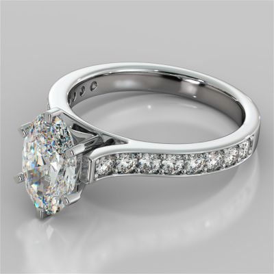 Oval Cut Cathedral Style Channel Engagement Ring With Accents