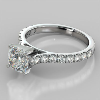 Cushion Cut Cathedral Scallop Style Engagement Ring With Accents