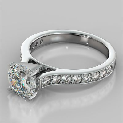 Round Cut Cathedral Style Channel Engagement Ring With Accents