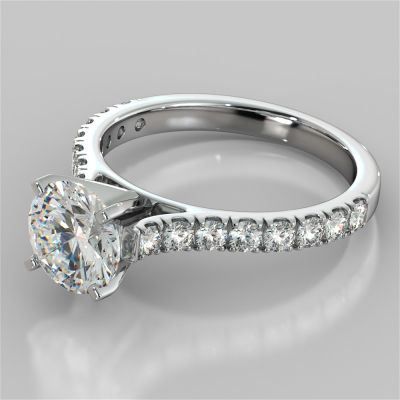 Round Cut Cathedral Scallop Style Engagement Ring With Accents