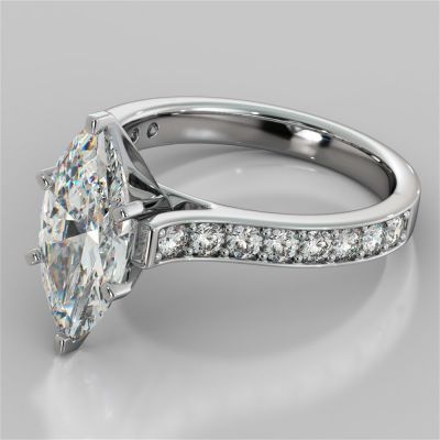 Marquise Cut Cathedral Style Channel Engagement Ring With Accents