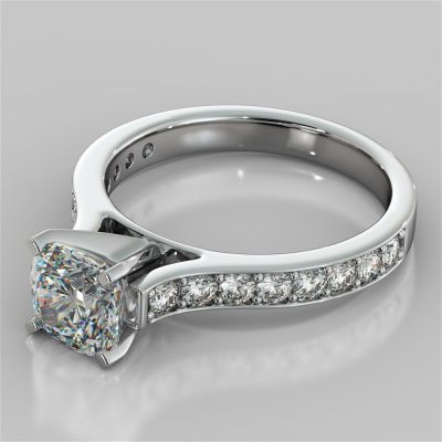 Cushion Cut Cathedral Style Channel Engagement Ring With Accents