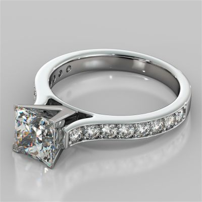 Princess Cut Cathedral Style Channel Engagement Ring With Accents