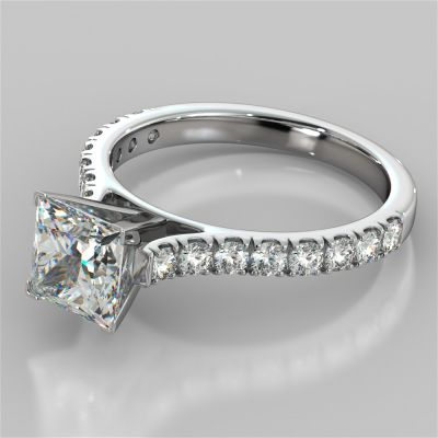Princess Cut Cathedral Scallop Style Engagement Ring With Accents