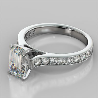 Emerald Cut Cathedral Style Channel Engagement Ring With Accents