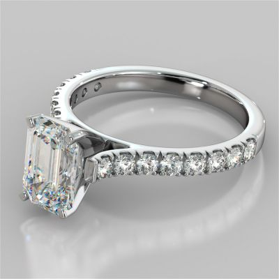 Emerald Cut Cathedral Scallop Style Engagement Ring With Accents