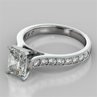 Radiant Cut Cathedral Style Channel Engagement Ring With Accents