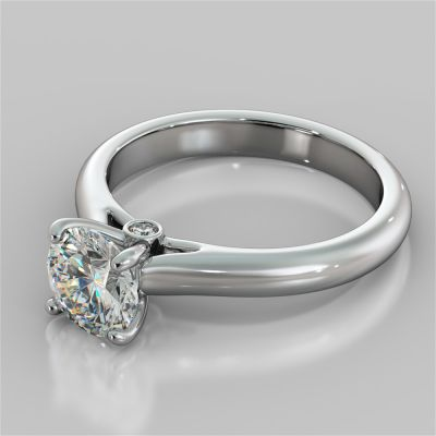 Round Cut Cathedral Engagement Ring With Accents