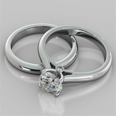Round Cut Cathedral Wedding Set With Side Accents