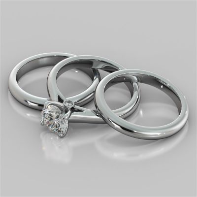 Round Cut Accented Cathedral Wedding Set With 2 Matching Bands