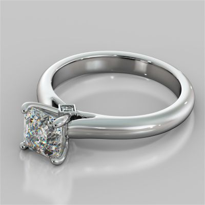 Asscher Cut Cathedral Engagement Ring With Accents