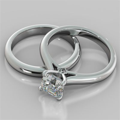 Asscher Cut Cathedral Wedding Set With Accents