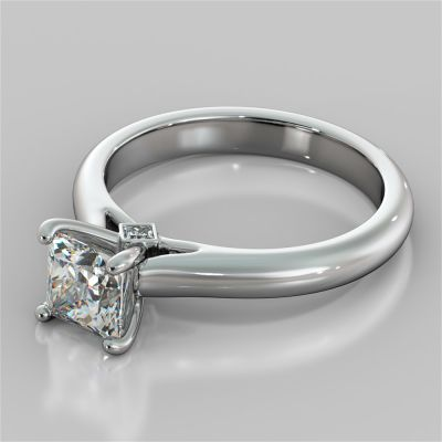 Princess Cut Cathedral Engagement Ring With Accents