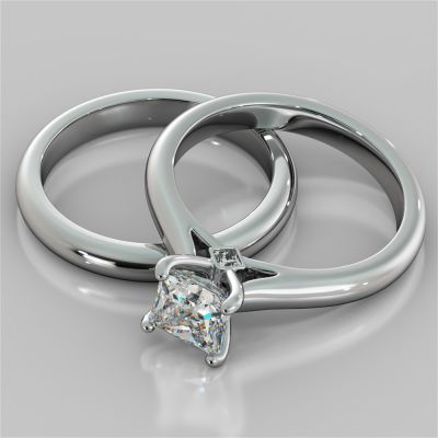 Princess Cut Cathedral Wedding Set With Accents