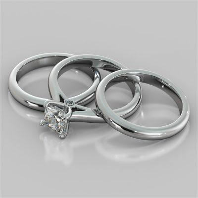 Princess Cut Cathedral Wedding Set With 2 Matching Bands