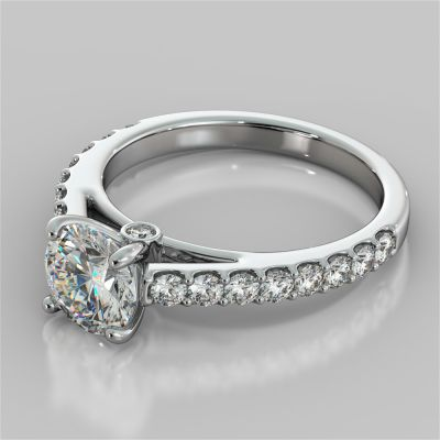 Round Cut Cathedral Style Engagement Ring With Side Accents