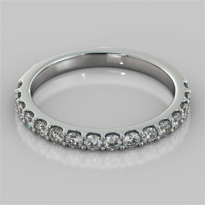 Round Cut Scallop Style Wedding Band