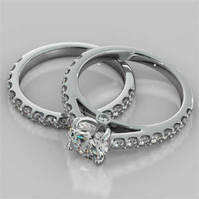 Round Cut Cathedral Style Wedding Set With Side Accents