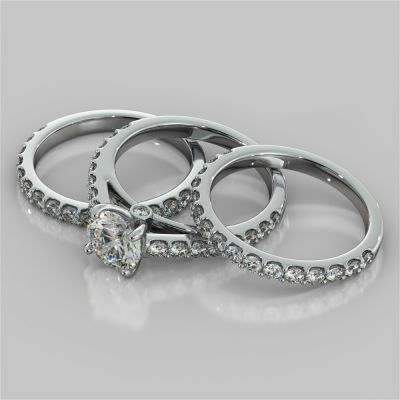 Round Cut Accented Cathedral Style Wedding Set With 2 Matching bands