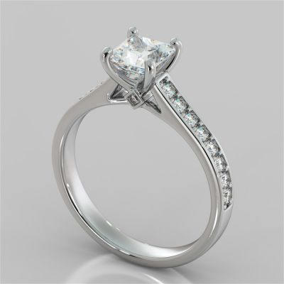 2.50Ct Princess Cut Accented Cathedral Engagement Ring in 14K White Gold
