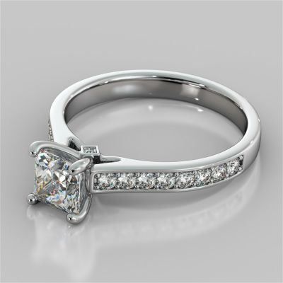 Princess Cut Accented Cathedral Engagement Ring