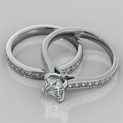 Princess Cut Accented Cathedral Wedding Set