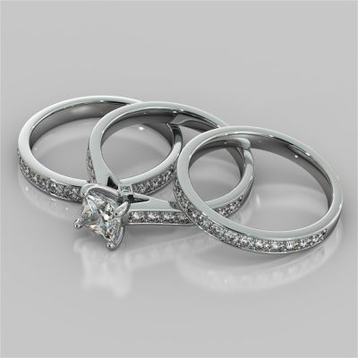 Princess Cut Accented Cathedral Wedding Set With 2 Matching Bands
