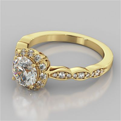 1.21Ct Round Cut Flower Design Engagement Ring in 14K Yellow Gold