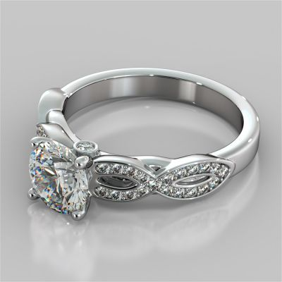 Round Cut Infinity Design Engagement Ring