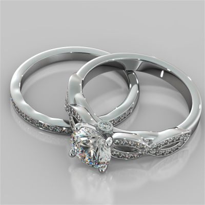 Round Cut Infinity Design Wedding Set With Accents