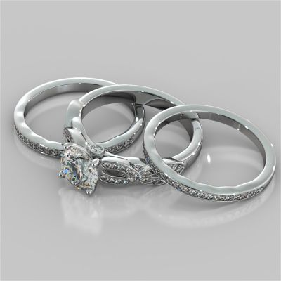 Round Cut Infinity Design Wedding Set With 2 Matching Bands