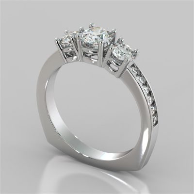 Round Cut Euro Style Engagement Ring With Accents