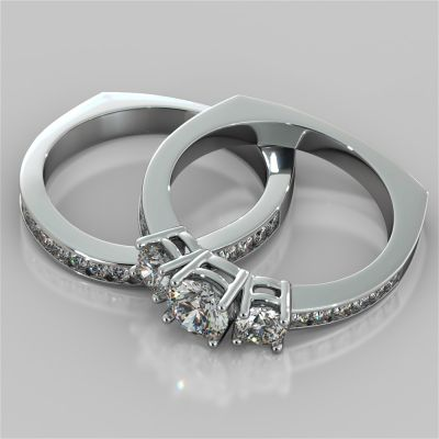 Round Cut Euro Style Three-Stone Wedding Set With Accents