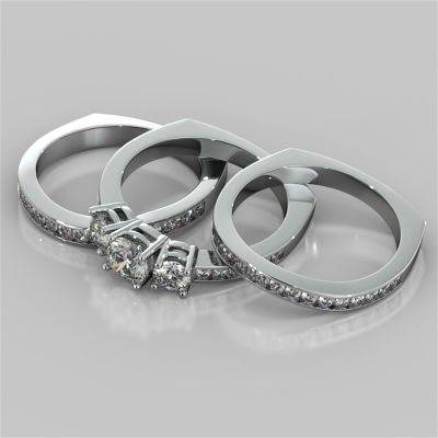 Round Cut Euro Style Three-Stone Wedding Set With 2 Matching Bands