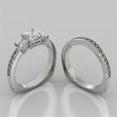 Princess Cut Euro Style Wedding Set With Channel Set Accents
