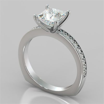 Princess Cut Euro Style Engagement Ring With Accents