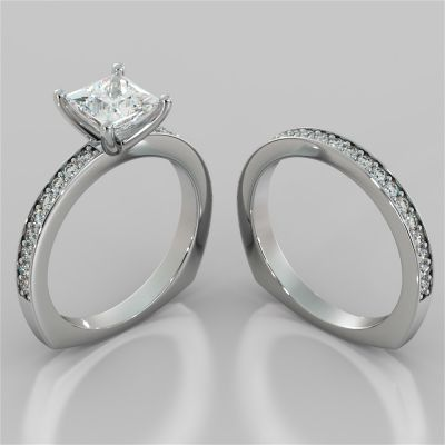 Princess Cut Euro Style Wedding Set With Accents