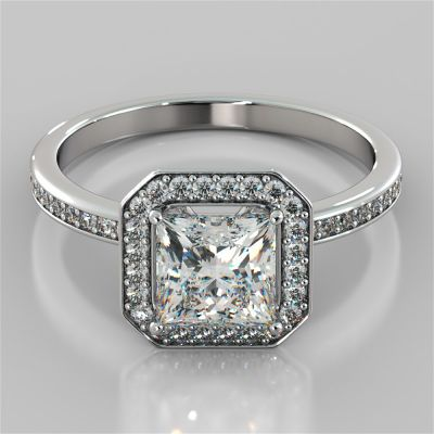 Princess Cut Pavé Style Halo Engagement Ring