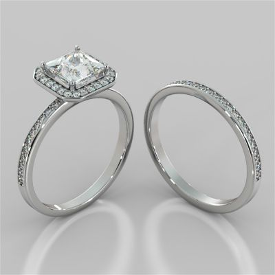 Princess Cut Pavé Style Halo Wedding Set With Accents